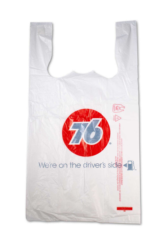 Large, flat, plastic bags featuring the 76, gas station logo.
