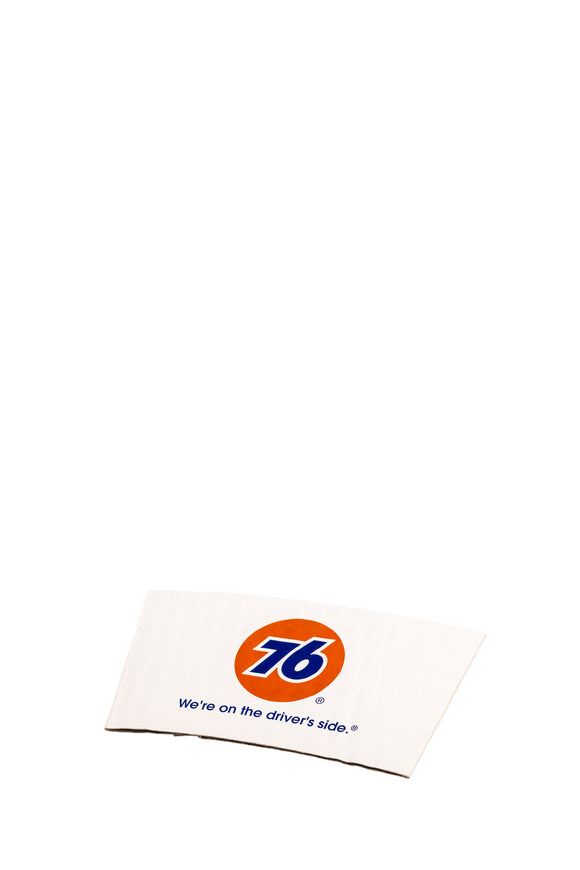 1200 bulk pack of hot cup, paper coffee sleeves with the 76 gas station logo.