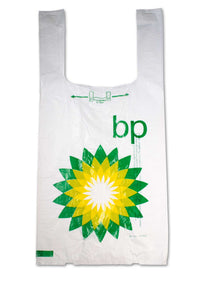 Large, flat, plastic bags with BP, gas station logo.