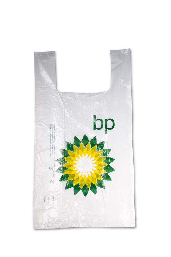 Medium sized, flat, plastic bags with BP, gas station logo.