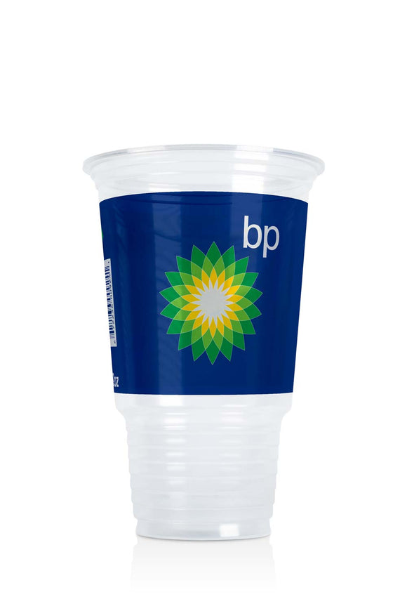 Clear Plastic 32 ounce Cup with BP, gas station logo. Lids also available.