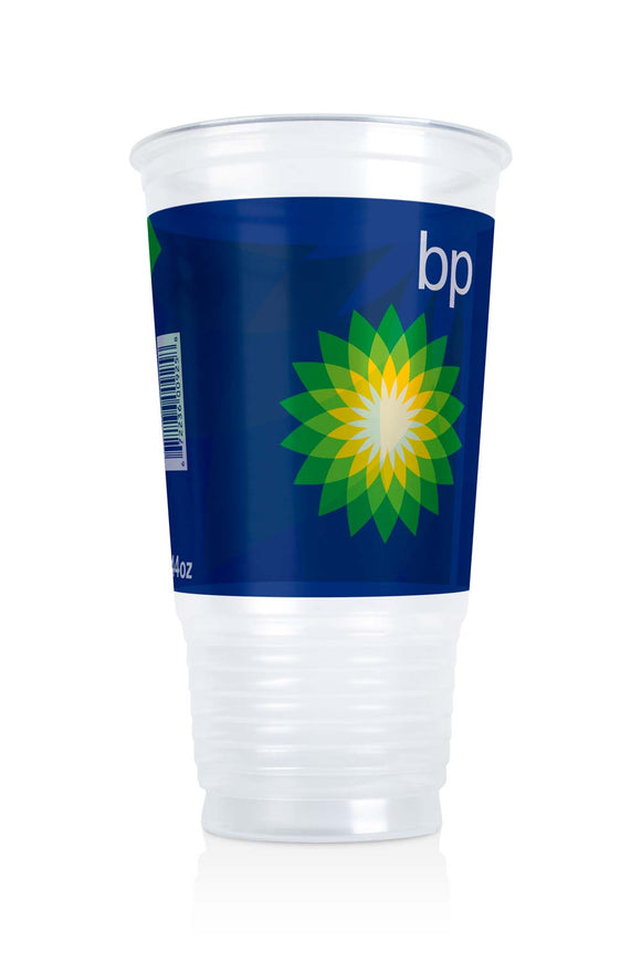 Clear Plastic 44 ounce Cup with BP, gas station logo. Lids also available.