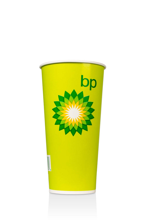 Lime Green, Cold Paper, 22 ounce Cup with BP, gas station logo. Lids also available.