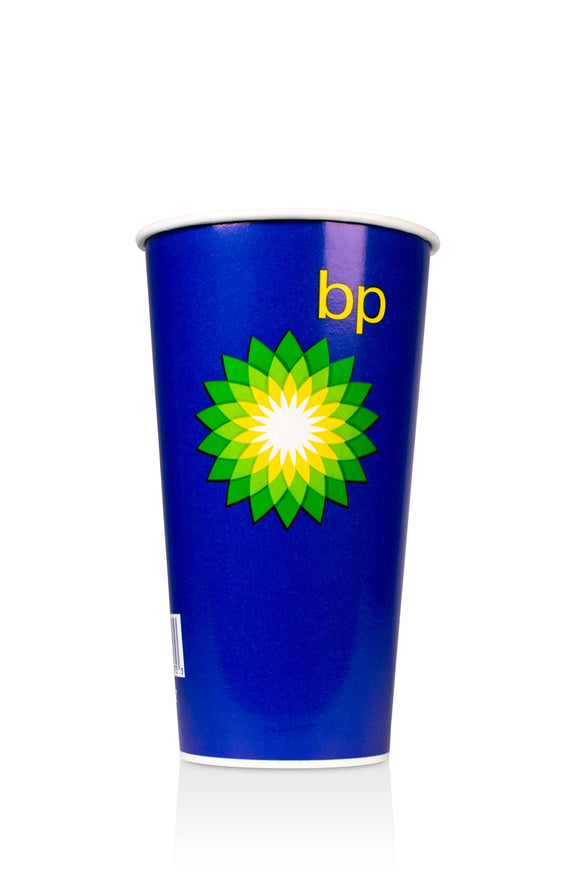 Blue, Cold Paper, 22 ounce Cup with BP, gas station logo. Lids also available.