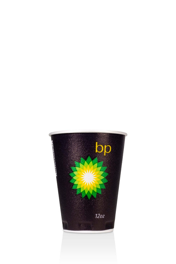 12 ounce, black, trophy, foam cup with BP, gas station logo. Lids also available.