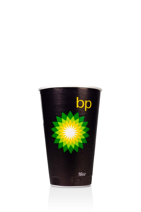 16 ounce, black, trophy, foam cup with BP, gas station logo. Lids also available.