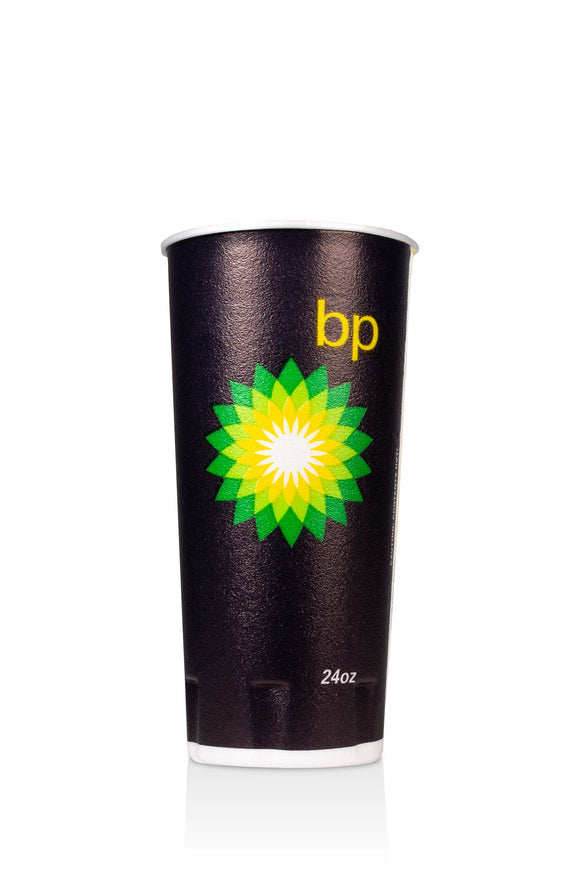 24 ounce, black, trophy, foam cup with BP, gas station logo. Lids also available.