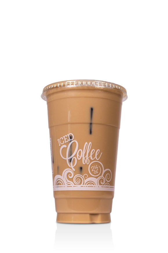 24 ounce, Barista, clear, plastic cups with lids included. These cups have a coffee swirl design and say