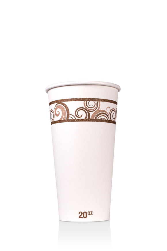 20 ounce, Barista paper cup with coffee swirl design. Lids also available.