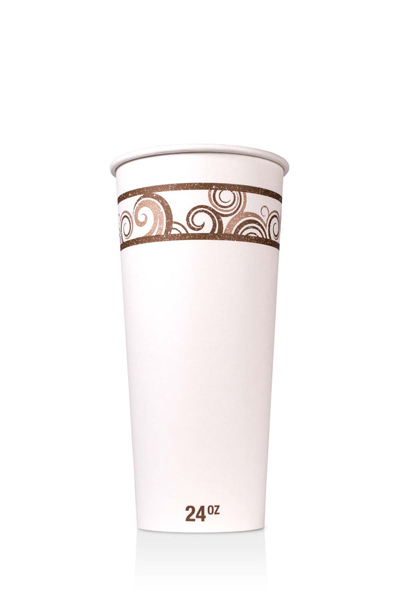 24 ounce, Barista paper cup with coffee swirl design. Lids also available.