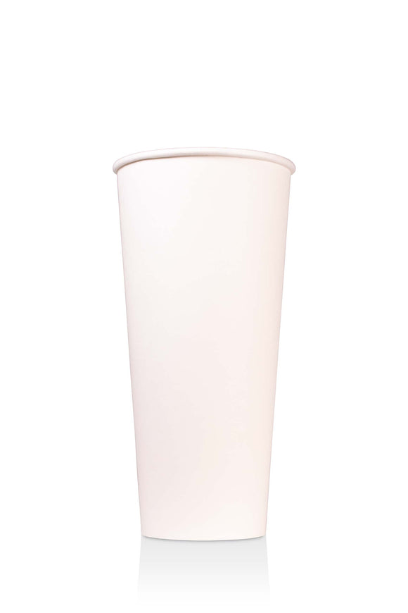 500 bulk pack of 24 ounce, white, paper cups with lids available.