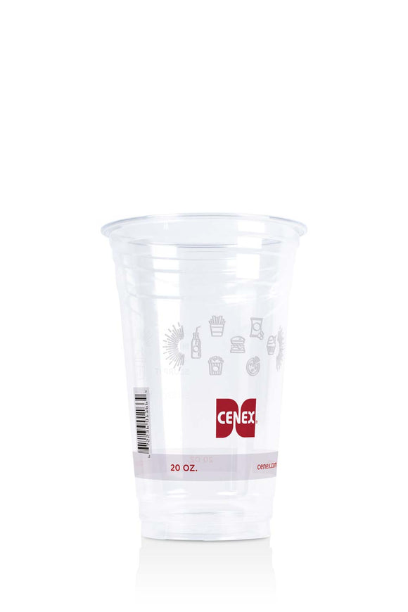 Clear, 20 ounce, plastic cup with Cenex, gas station logo and icons. Lids also available.