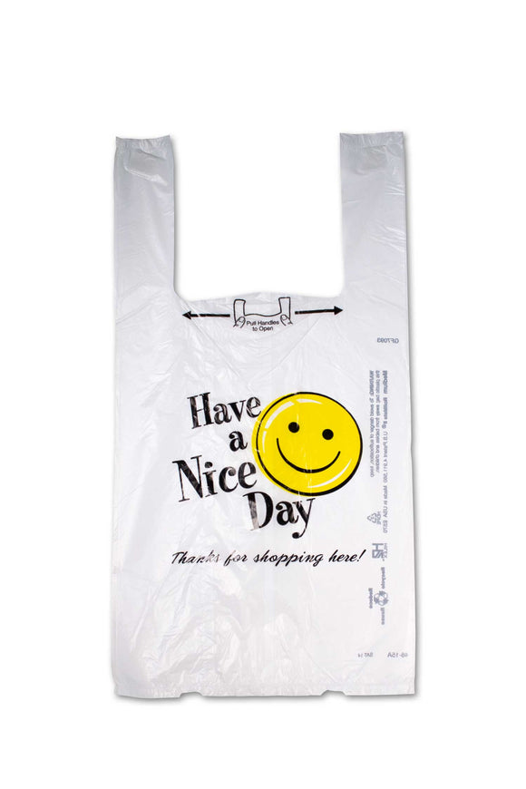 Medium sized, flat, plastic bags with a happy face and the phrase