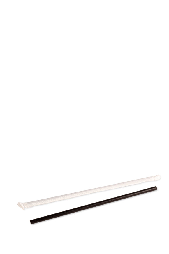 2000 bulk pack of black, individually wrapped, eco-friendly, paper straws that are 7.75 inches long.