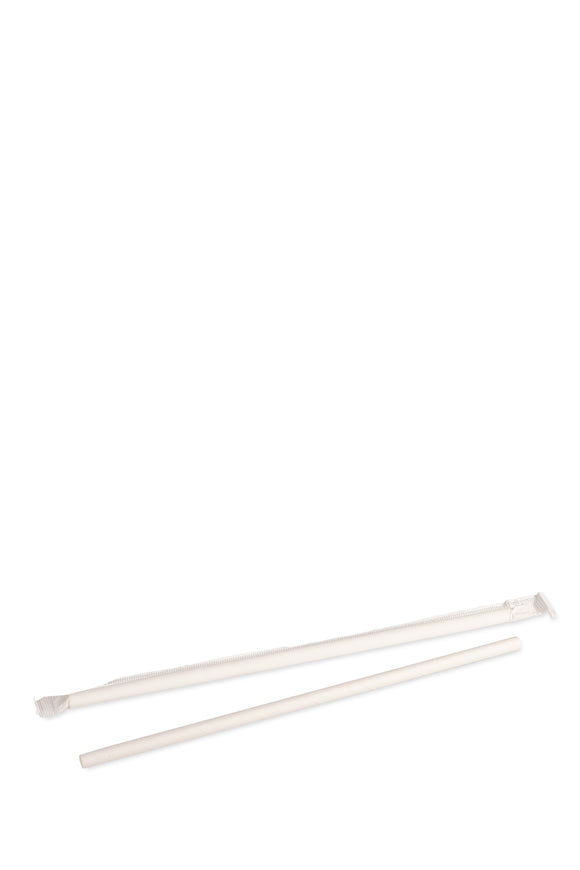 2000 bulk pack of white, individually wrapped, eco-friendly, paper straws that are 7.75 inches long.