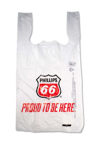 Large, flat, plastic bags with Phillips 66, gas station logo.