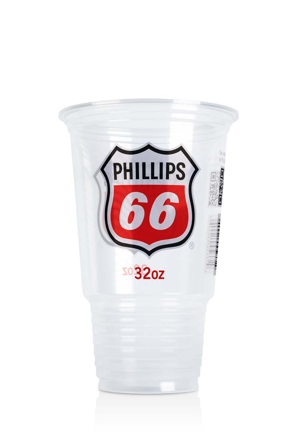 32 ounce, clear plastic cup with Phillips 66, gas station logo. Lids also available.