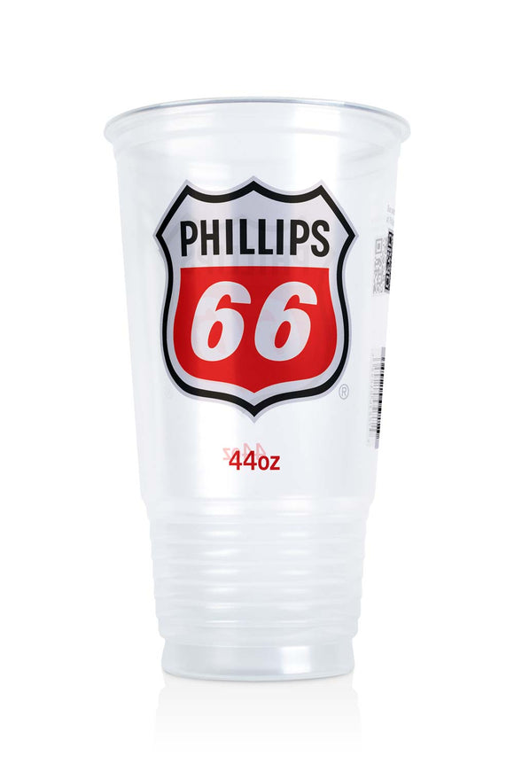 44 ounce, clear plastic cup with Phillips 66, gas station logo. Lids also available.