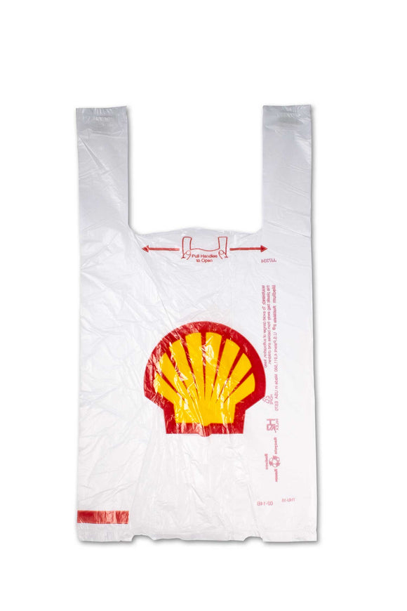 Medium sized, flat, plastic bags with Shell, station logo.