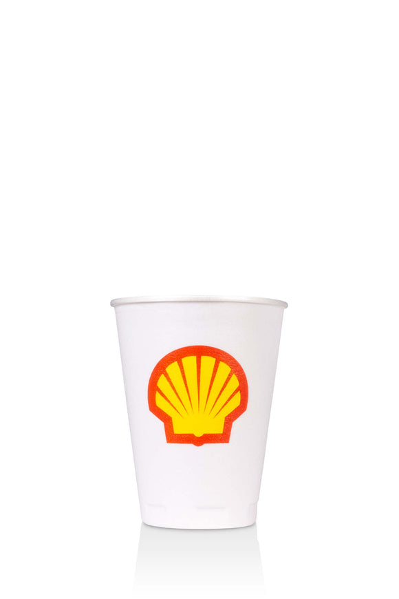 12 ounce, trophy, foam cup with shell, gas station logo. Lids also available.