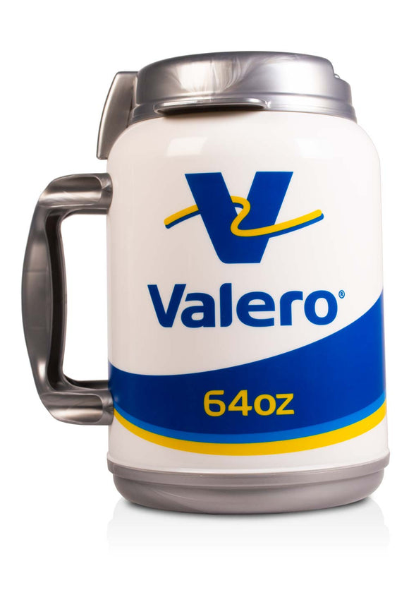 64 ounce, thermal, mug with handle and lid. It has the Velero, gas station logo and a blue stripe.