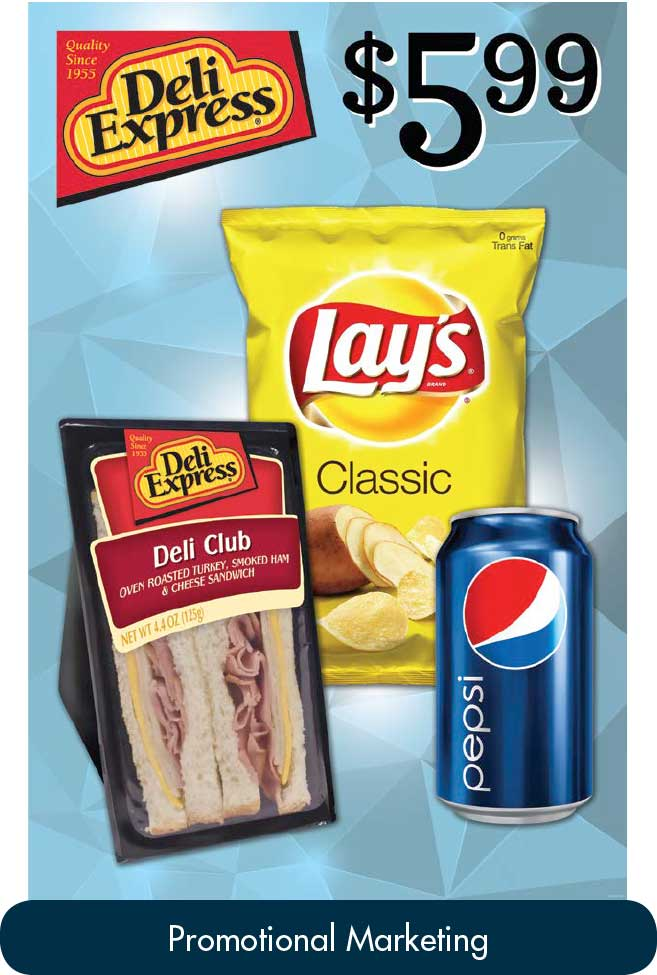 Example of promotional marketing materials created at The Morrison Group. This shows images of Lays chips and a can of Pepsi.