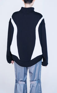 [先行受注 前金30%] CELLULAR KNIT HIGH NECK PULLOVER / black×gray
