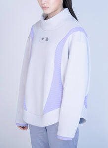 CELLULAR KNIT HIGH NECK PULLOVER / gray×purple