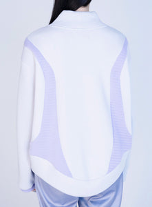 [先行受注 前金100%] CELLULAR KNIT HIGH NECK PULLOVER / gray×purple