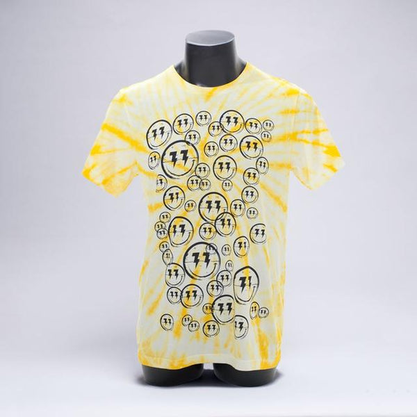 Bingo Players - Smiley Pattern Yellow Tie Dye Tee