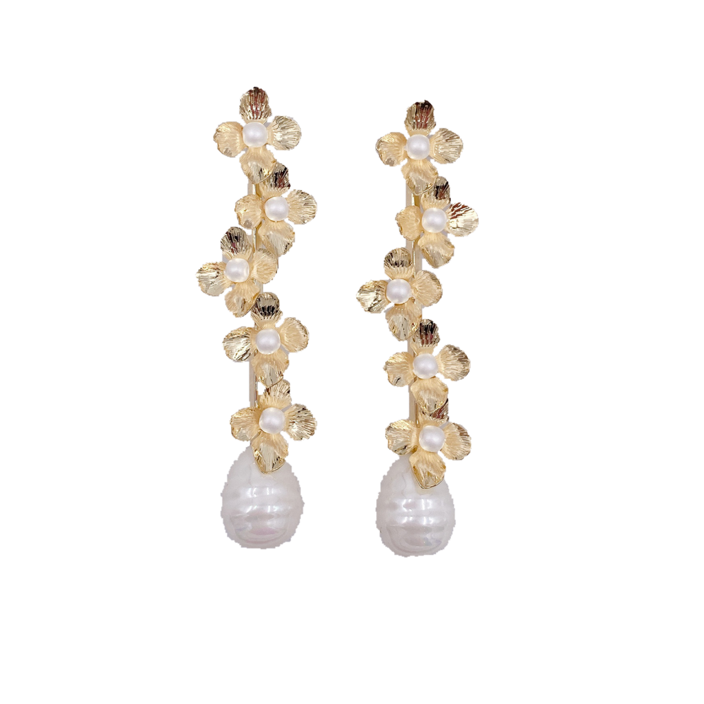 frances mini floral dangles • pearl