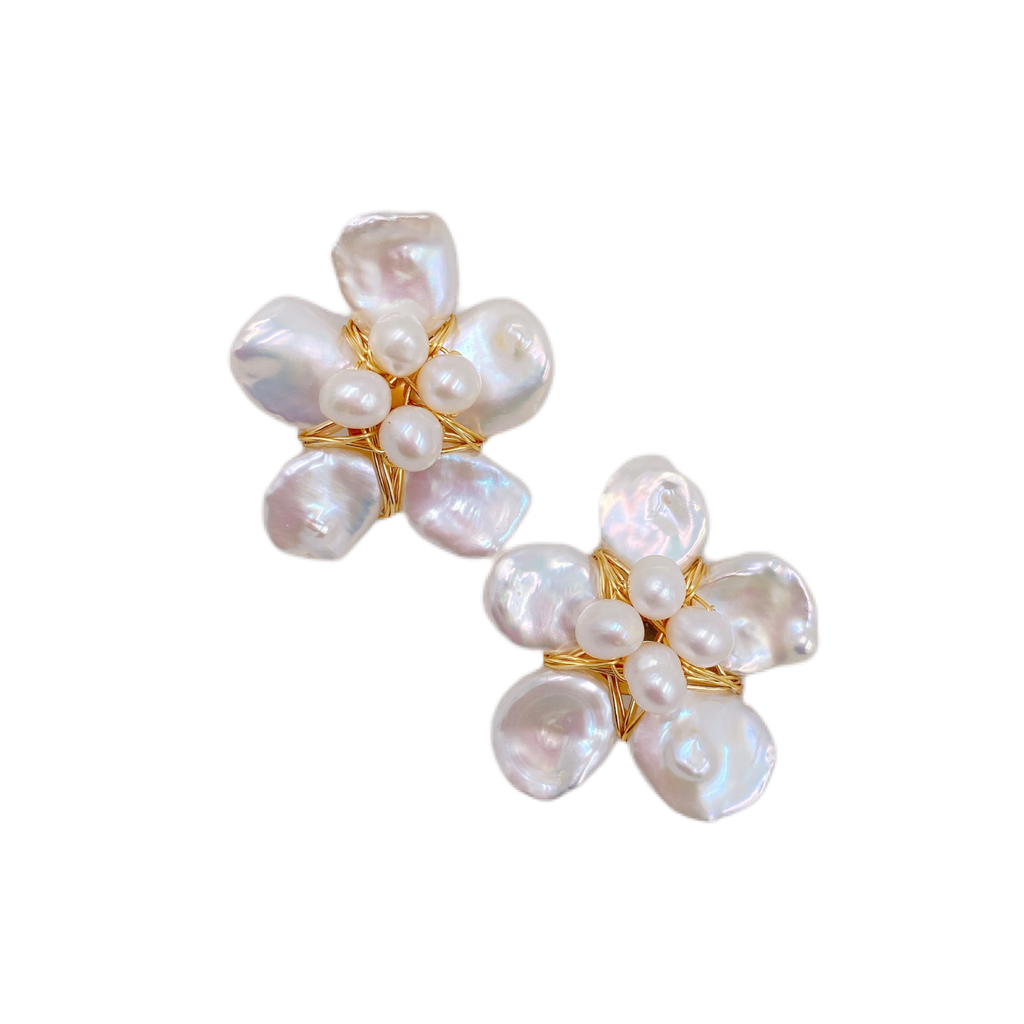 mini maddie mother of pearl floral studs