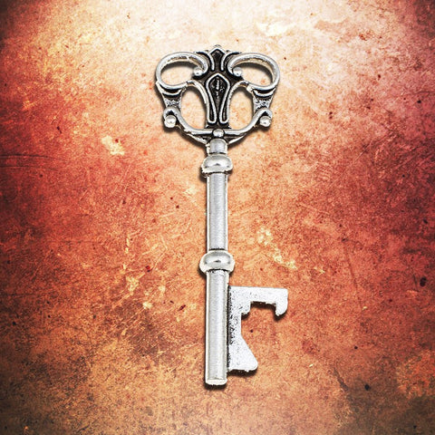 3 inch Antiqued Silver Bottle Opening Skeleton Key