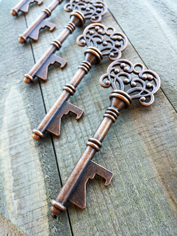 Skeleton Key Bottle Openers Large Skeleton Keys Wedding Favors Bulk Skeleton Keys Steampunk Keys Antiqued Copper Bulk Skeleton Keys 50pc 3""