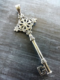 3.25 inch Stainless Steel Antiqued Silver Skeleton Key