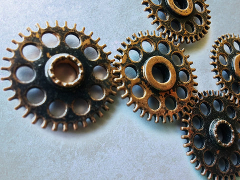 Steampunk Gears Cog Charm Gear Pendant Gear Connector Pendants Antiqued Copper Gears Metal Gears Steampunk Cogs 26mm/1 inch 3 pcs