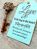Wedding Card Tags with Large Rustic Bottle Opener Skeleton Keys to the Heart and Twine Custom Printed Personalized Gift Event Favor 100 sets