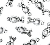 "HOPE Ribbon Pendant Breast Cancer Awareness Charm Antiqued Silver 18mm/0.71"" 50 pcs Hope Pendant Awareness Silver Ribbon Bulk Lot"