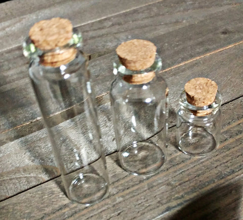 Glass Cork Bottles 3 Clear Container Jars Cylinder with Cork Small Glass Bottle 22mmx30mm Potion Apothecary Vials Assorted Mix