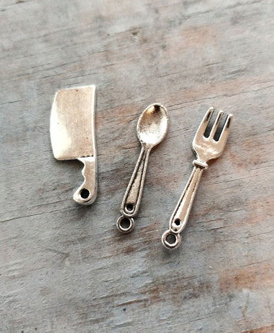 Assorted Charms Spoon Fork Butcher Hatchet Culinary Eating Cooking Theme Silver 3 pcs Mixed Random Pendants Findings Set Bulk Lot