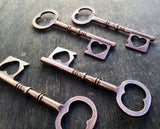 2.4 inch Antiqued Copper Skeleton Heart Key
