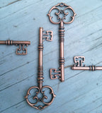 Large 3.25 Antiqued Copper Skeleton Keys