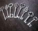 Assorted Antiqued Silver Skeleton Keys 1.3-3.25""