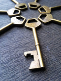 Flat Top Bottle Opening 2.8 inch Skeleton Key in Antiqued Bronze