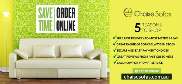 Save Time Order Online Chaise Sofa Banner