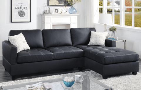 Holworth Chaise Sofa in Black LHF