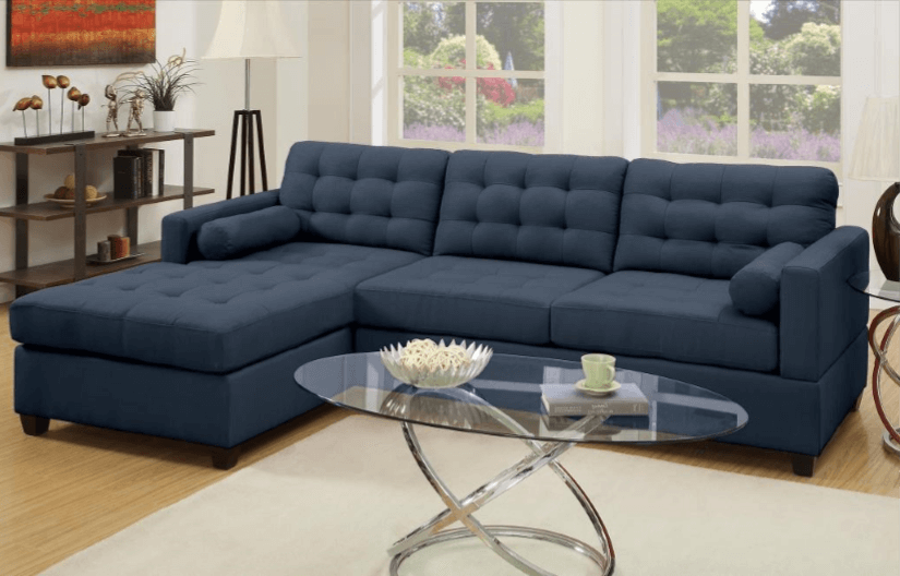 Preston Chaise Sofa in Dark Blue LHF