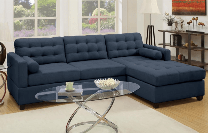 Preston Chaise Sofa in Dark Blue RHF