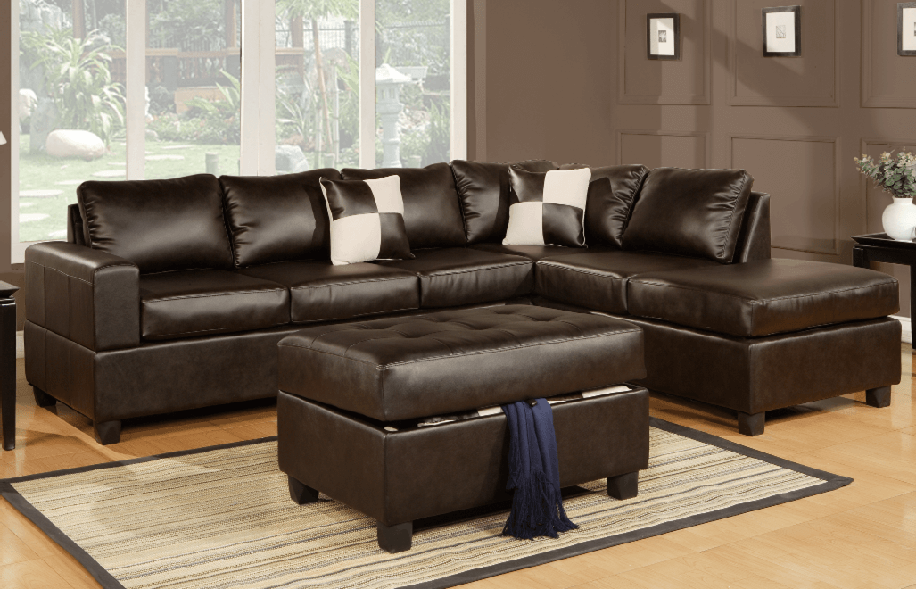 Langton Esspresso Bonded Leather Lounge Suite From Chaise