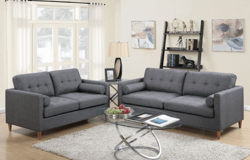 Arne Ocean Grey Polyester Fabric Lounge Suite From Chaise